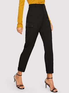 High Waist Flap Pocket Side Utility Pants