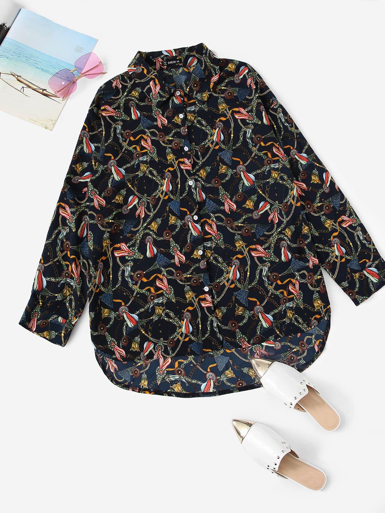 Купить Размер плюс рубашка с графическим принтом и выгнутым подолом, null, SheIn