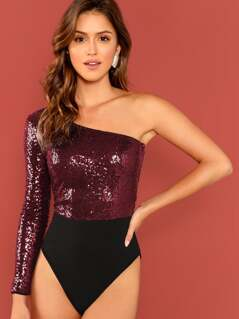 One Shoulder Sequins Contrast Bodysuit