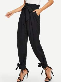 Paper-bag Waist Knot Hem Pants