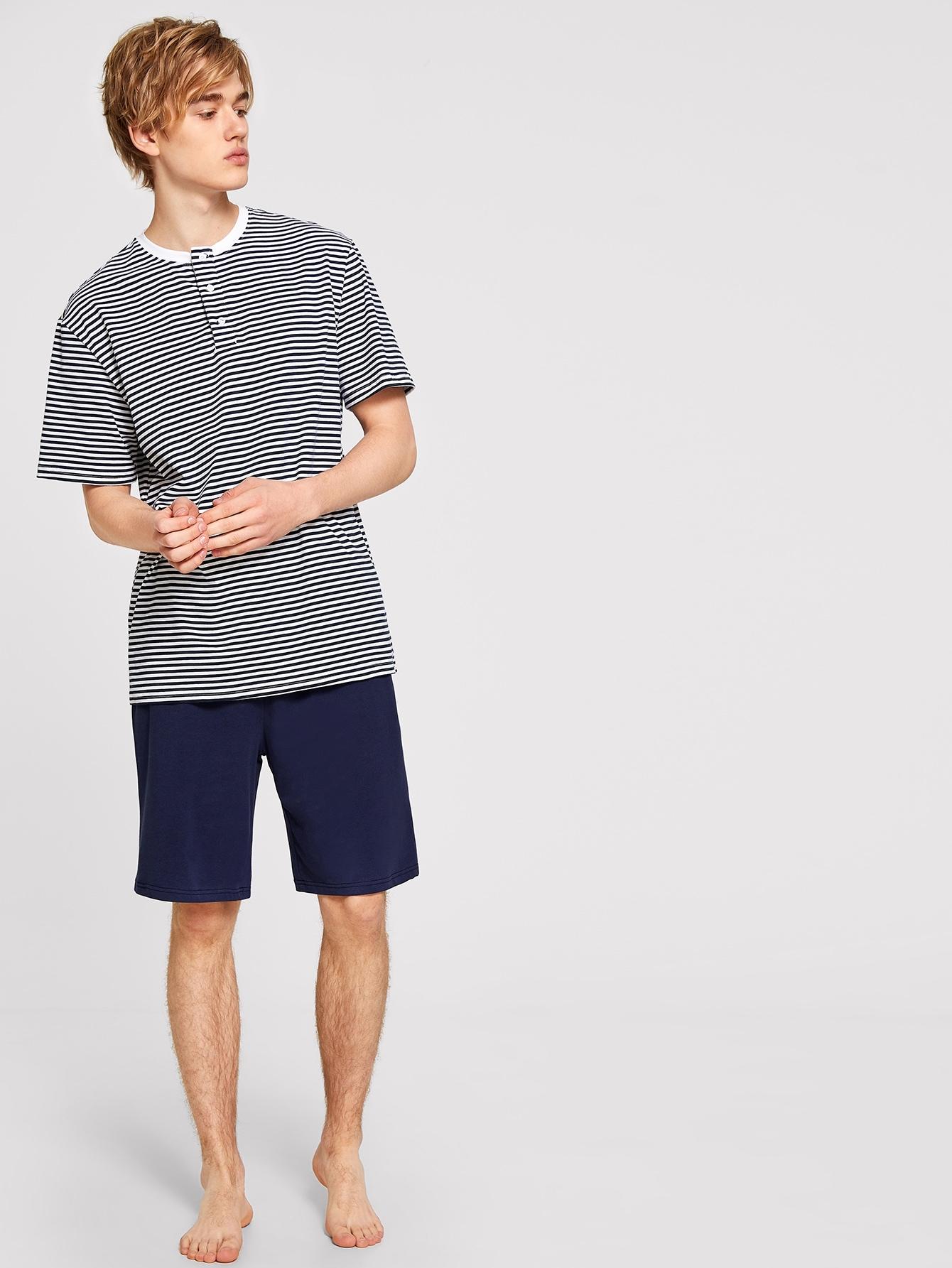 Купить Мужские футболка в полоску с пуговицами и шорты, Alex, SheIn