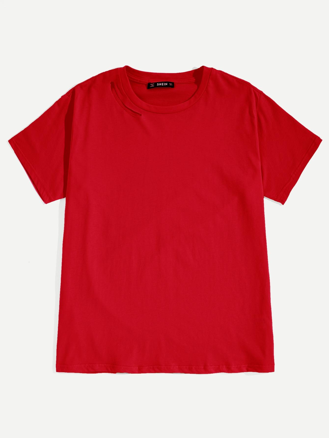 Купить Мужская однотонная футболка с разрезом на плече, null, SheIn