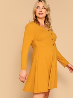Plus Buttoned Rib-knit Fit & Flare Dress