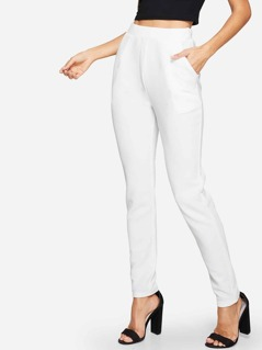 Pocket Side Solid Textured Pants