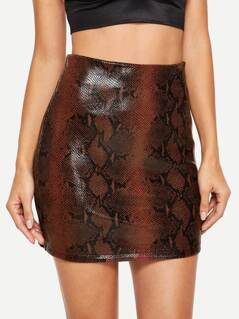Leather Look Snakeskin Skirt