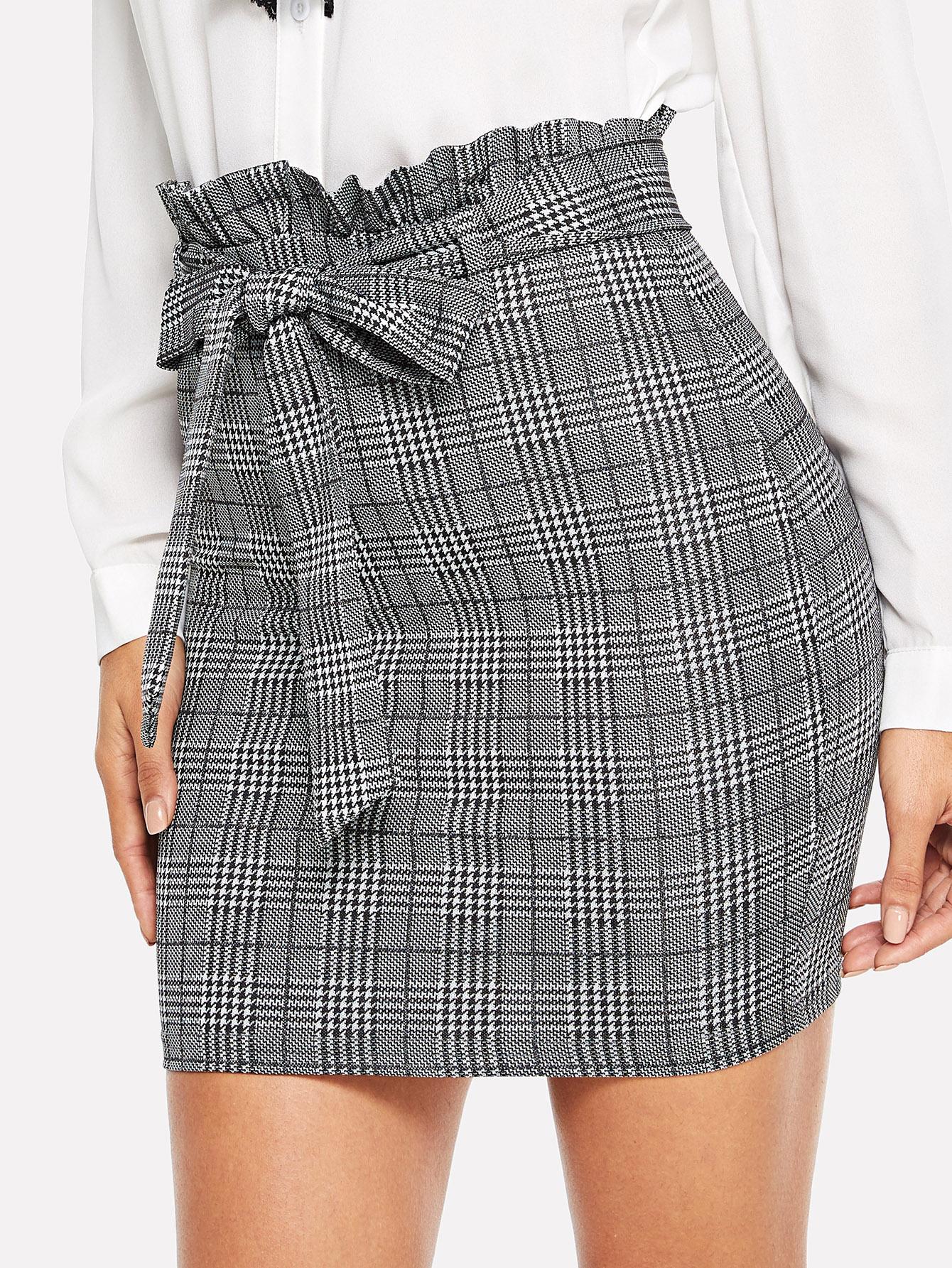 Купить Приталенная юбка в клетку с плиссированной талией, Juliana, SheIn