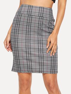 Zip Back Wide Waist Plaid Skirt