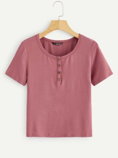 Button Half Placket Fitted Tee