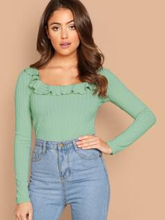 Ruffle Detail Scoop Neck Ribbed Knit Tee