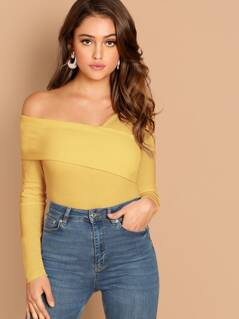 Foldover Asymmetrical Neck Slim Fitted Wrap Top