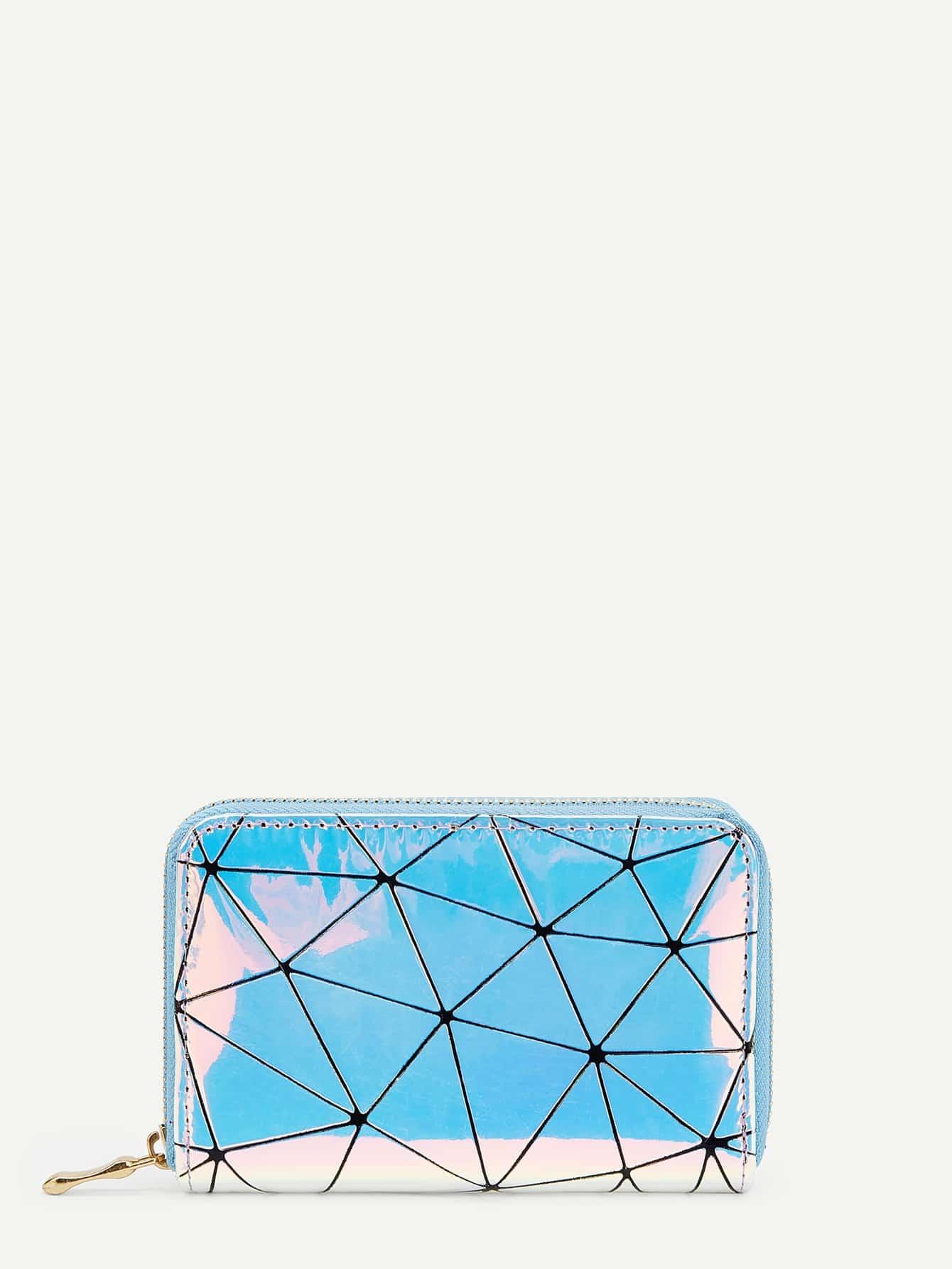 Купить Радужный кошелёк на молнии с геометрическим принтом, null, SheIn
