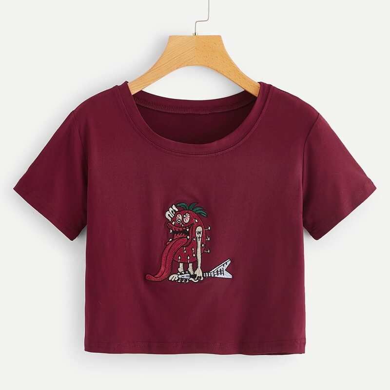 Cartoon Embroidery Tee, Burgundy