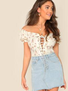 Off Shoulder Lace Up Front Floral Ruffle Trim Top