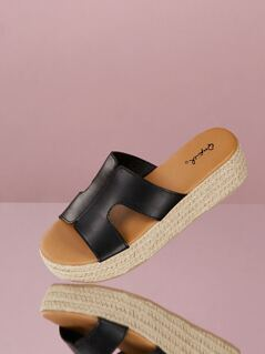 H Cut Out Jute Trimmed Wedge Sandals