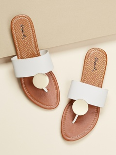 Disc Charm Wide Band Slide On Flat Sandals