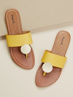 Disc Detail Wide Band Flat Thong Sandals