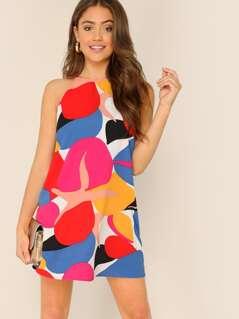 Halter Neck Back Keyhole Kaleidoscope Mini Dress