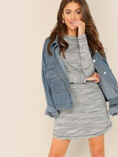 Heathered Knit Long Sleeve Mini T-Shirt Dress
