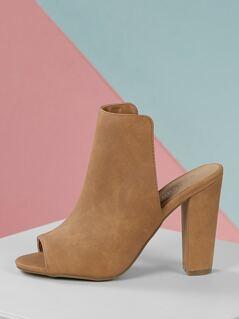 High Shaft Chunky Heel Open Toe Mules