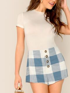 Button Fly Checkered Mid Rise Shorts