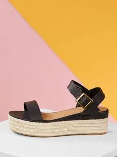 Jute Wrapped Flatform Single Band Sandals