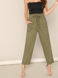 Linen Ruffle Paper Bag Waist Straight Leg Pants