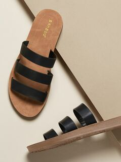 Triple Solid Band Flat Sandals