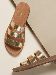 Metallic Triple Strap Slide Flat Sandals