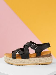 Strappy Jute Wrapped Flat Wedge Buckle Sandals
