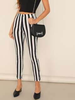 Mid Rise Striped Skinny Pants