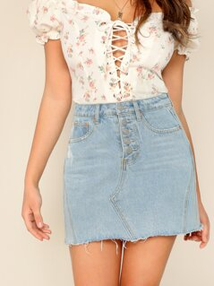 Light Wash Raw Hem Mini Denim Skirt