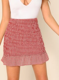 Plaid Ruffle Hem Stretch Smocked Mini Skirt