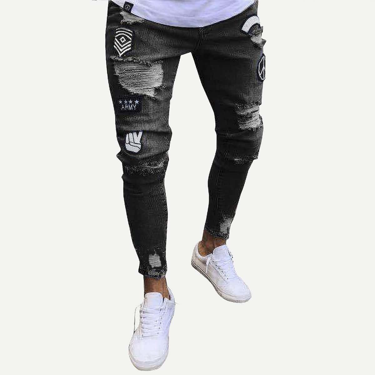 Zwart Casual Tekst Heren Jeans Patched