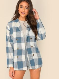 Double Breasted Checked Loose Fit Blazer
