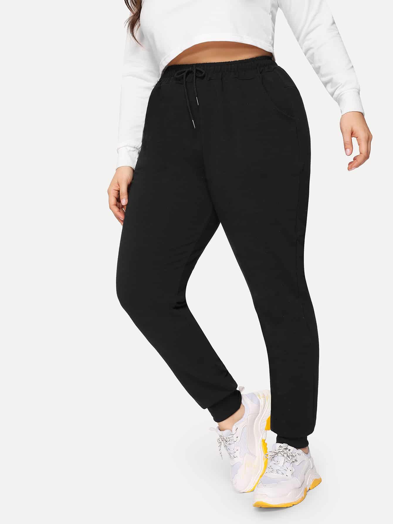 Купить Размера плюс однотонные спортивные брюки с кулиской на талии, Franziska, SheIn