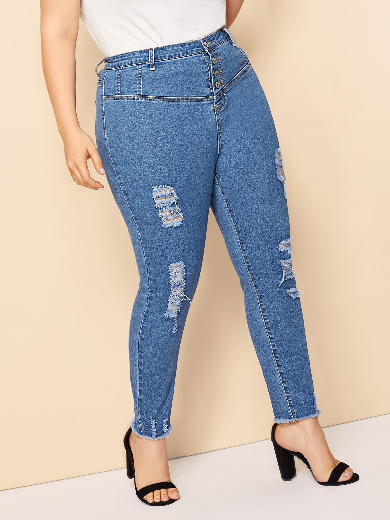 Купить Размера плюс рваные обтягивающие джинсы с высокой талией, Franziska, SheIn