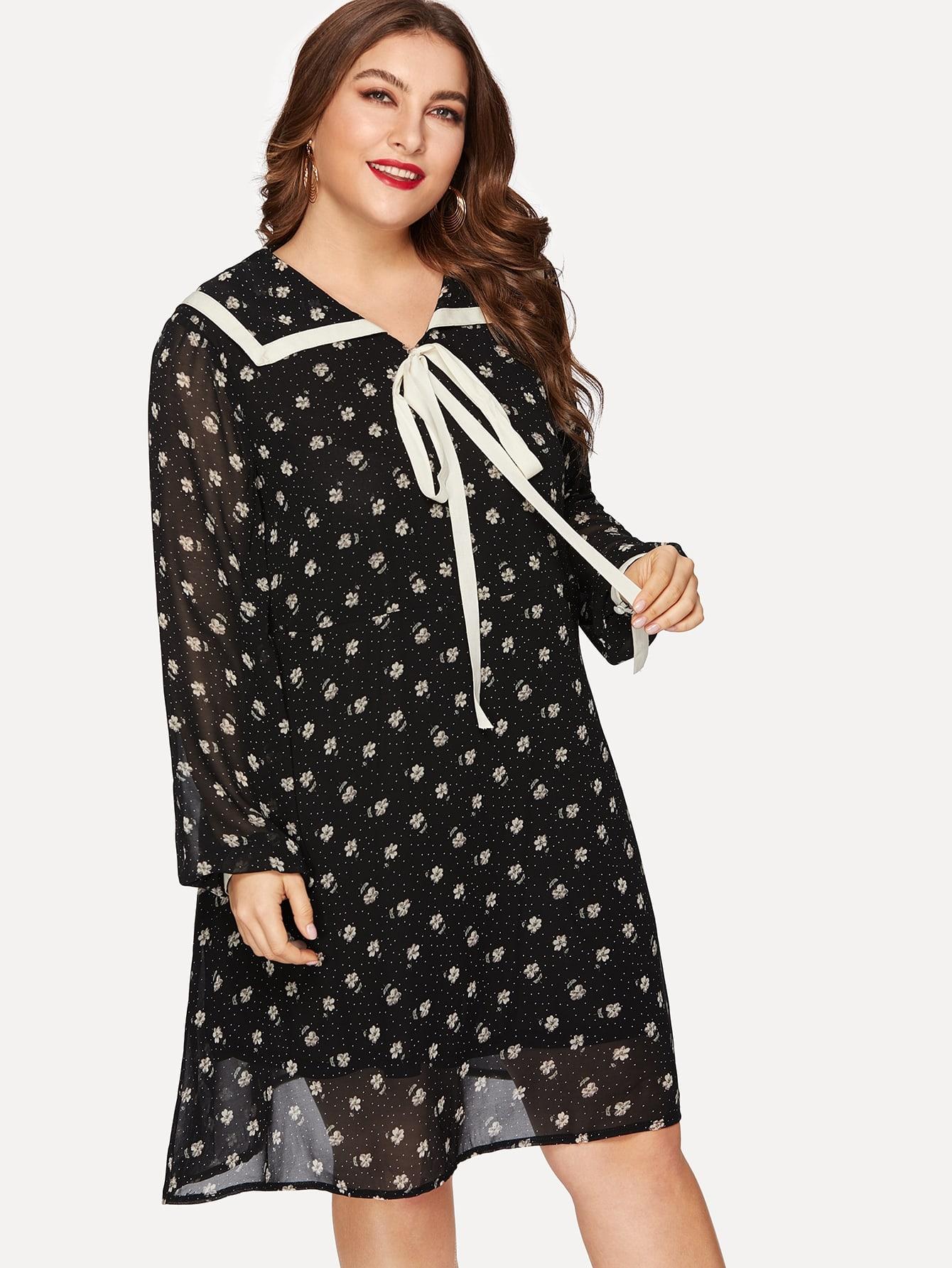Размера плюс платье с завязкой на шее и цветочным принтом