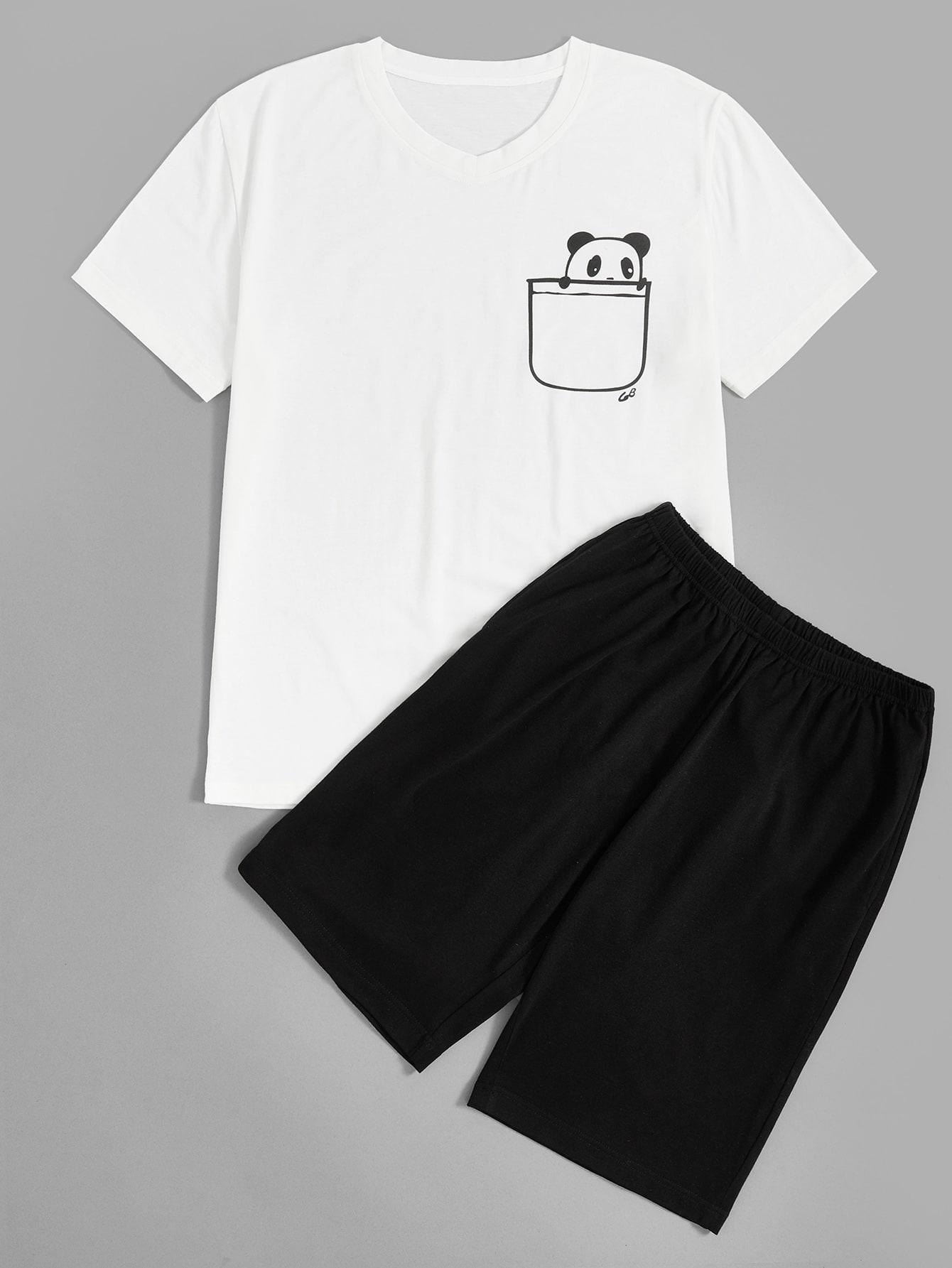 Купить Мужской топ с принтом панды и шорты пижама комплект, null, SheIn