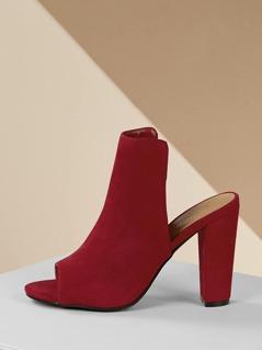 High Vamp Thick Heel Peep Toe Mules