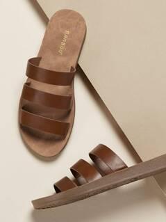 Multi Strap Slide Flat Sandals