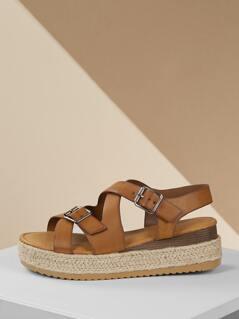 Double Buckle Strappy Jute Trim Flatform Sandals