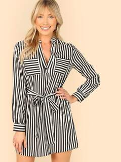 Striped Self Belt Utility Dress