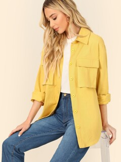 Dual Flap Pocket Front Shirt Jacket