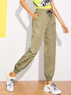 Drawstring Waist Slant Pocket Utility Pants