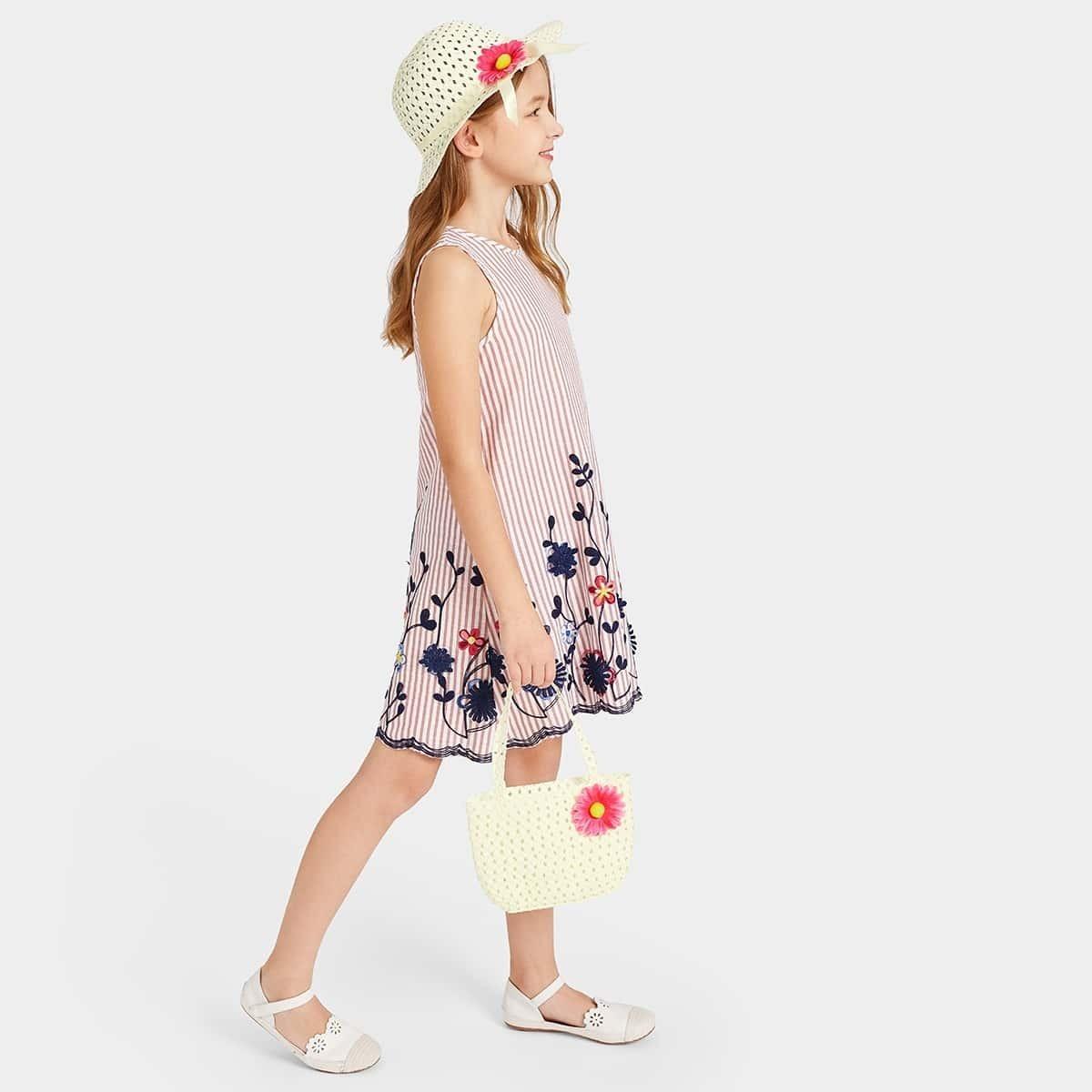 Girls Flower Decor Fedora & Straw Handbag 2pack