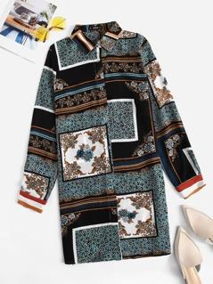 Button Front Scarf Print Shirt Dress