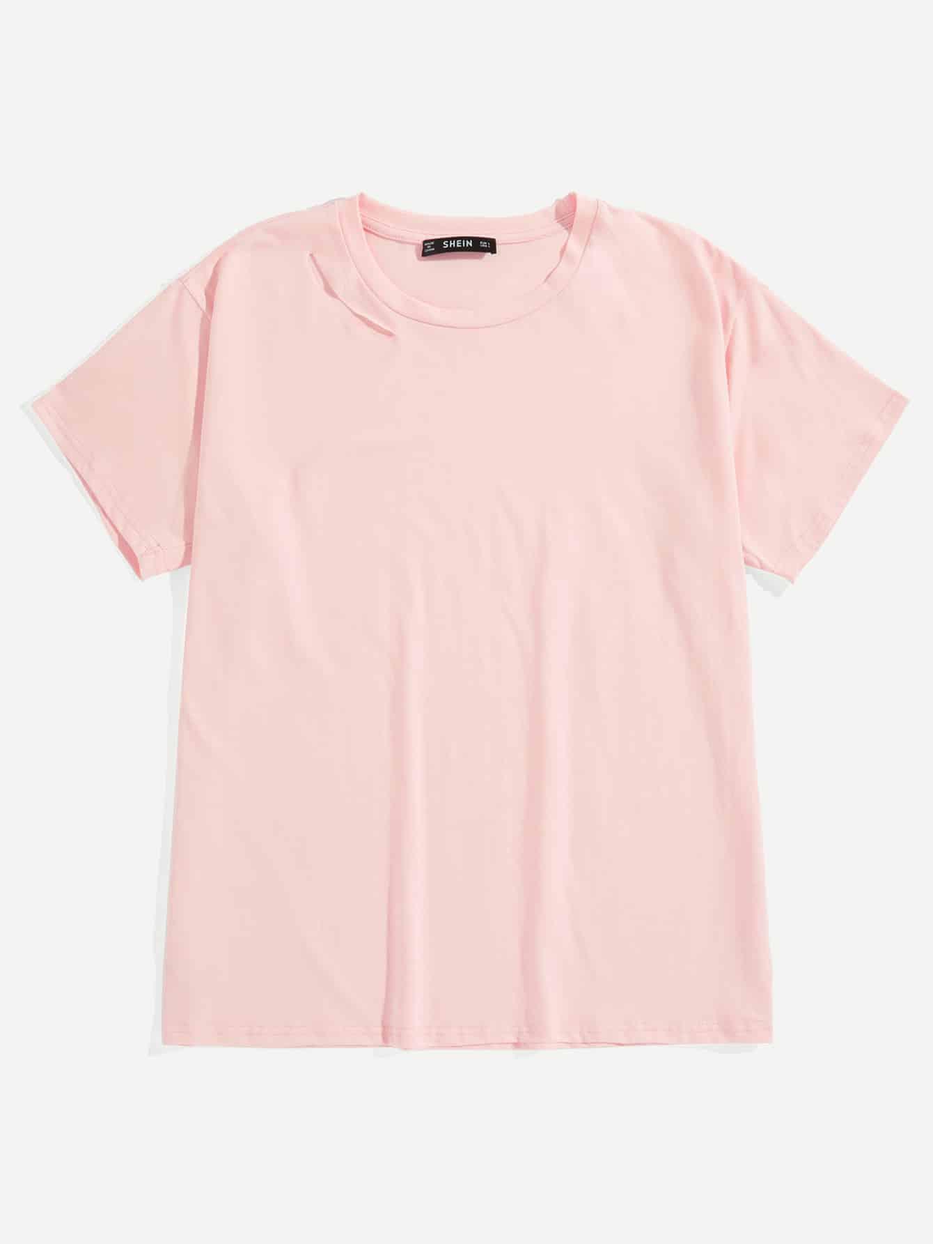 Купить Мужская однотонная футболка с вырезом на вороте, null, SheIn