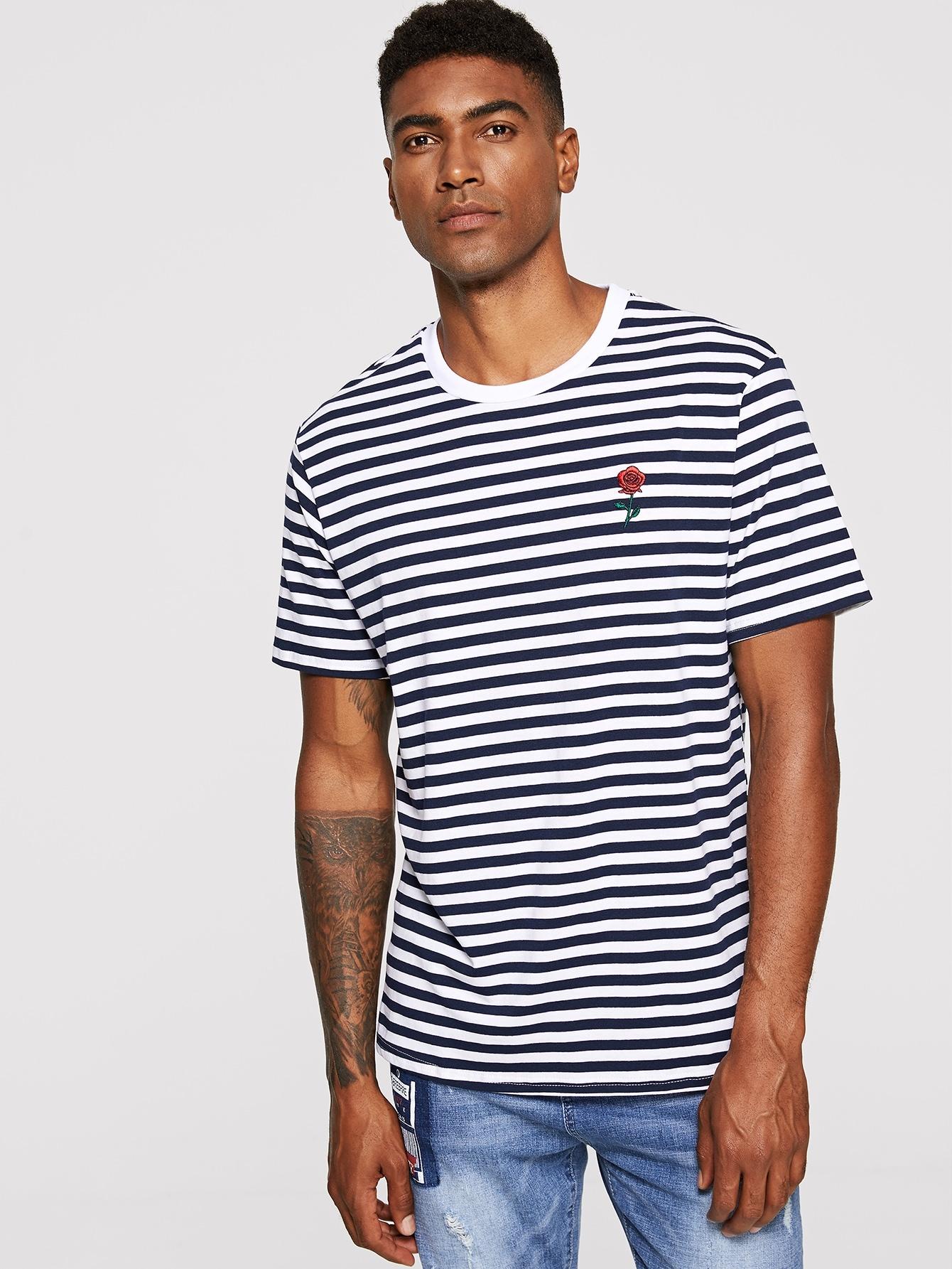 Купить Мужская полосатая футболка с цветочной вышивкой, Johnn Silva, SheIn