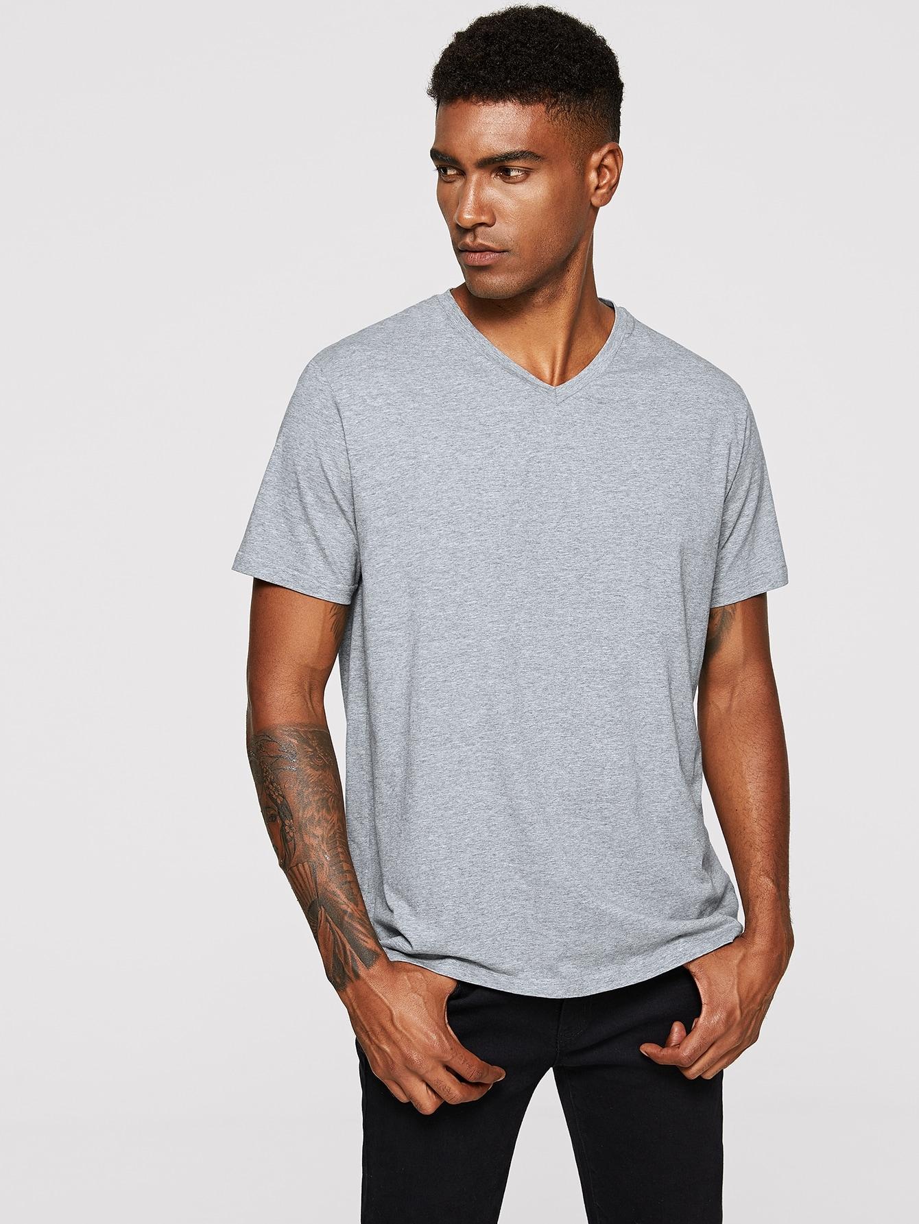 Купить Мужская футболка с V-образным вырезом, Johnn Silva, SheIn