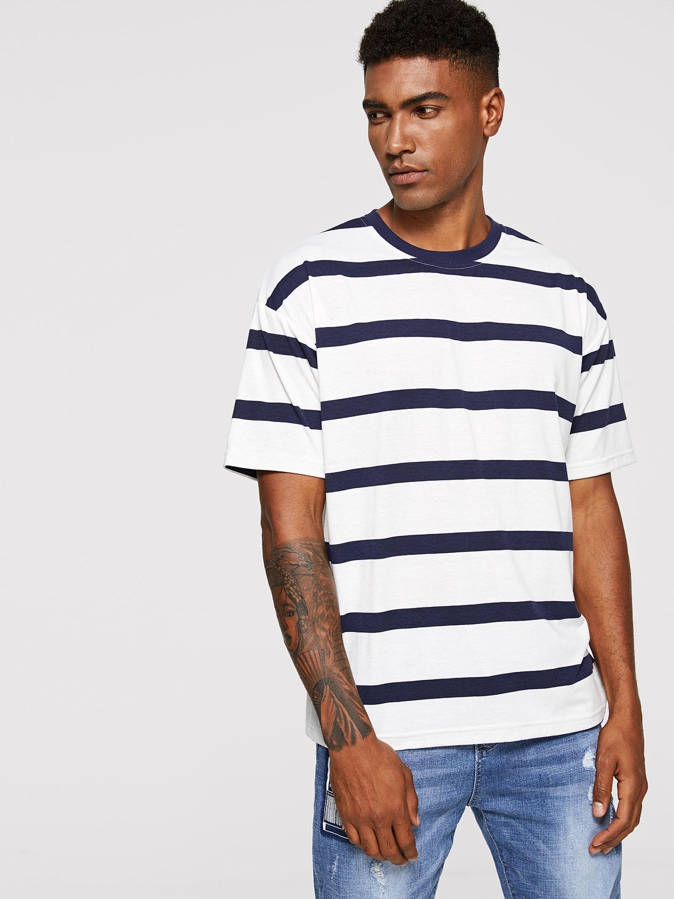 Купить Мужская полосатая футбола с заниженной линией плеч, Johnn Silva, SheIn